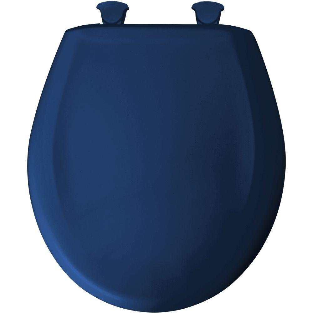Bemis 200SLOWT 364 Round Closed Front Plastic Toilet Seat with Cover, Colonial Blue