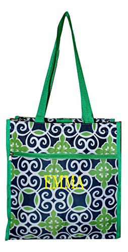 Travel Tote Bag with Coin Purse - Custom Available (Green Tile - Embroidered Name) (Custom Beach Bags)