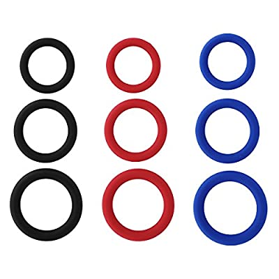ACSUSS Men's Silicone Enhancement Exercise Bands 3 Different Size O-Ring Device Set