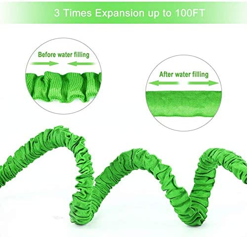 MY1MEY Magic hose Expanded Garden Water Pipe, 3x Expandable Flexible Magic Leakproof Lightweight Water Pipe, 8 Function Spray Gun, Green Telescopic hose