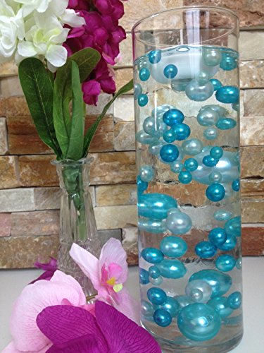 Vase Filler Pearls For Floating Pearl Centerpieces, 80 Teal Blue & Light Blue Pearls Jumbo & Mix Size No Hole Pearls, (Transparent Gel Beads Required To Create Floating Pearls Sold separately)