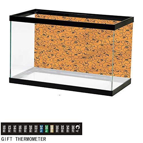 bybyhome Fish Tank Backdrop Halloween,Swirls Bats and Pumpkins,Aquarium Background,48