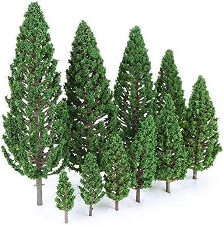 22PCSミニ建築プラスチック緑の木々スケールモデルの庭の装飾の木のおもちゃ電車鉄道風景風景のレイアウト