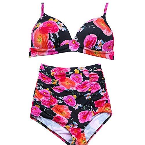 2018 Costume Da Bagno Sexy Da Donna Senza Fiori Senza Rilievi Resort Spa Beach Beach Bikini A Vita Alta,Pink,M