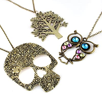 JewelrieShop Vintage Retro Colorful Crystal Owl Pendant Long Chain Necklace with Antiqued Bronze Finish