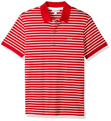 Lacoste Mens Short Sleeve Stripe Pima Jersey Interlock Regular Fit
