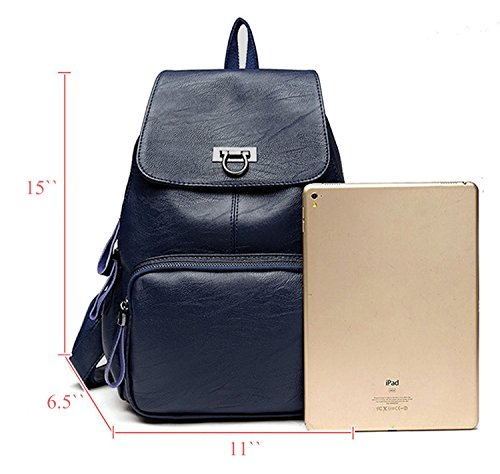 Girls Satchel Backpack for Women Fanshu School Travel Blue Leather Casual Shoulder Purse Bag Red Ladies Backpack Bag R8wpf6
