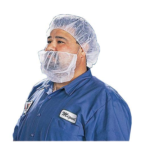 Tian's International 90088-5 White Cleanroom Beard Cover, Polypropylene, 19