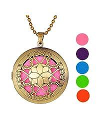 Peach Flower Heart Aromatherapy Essential Oil Diffuser Necklace Pierced Rirglow Pendant,Antique Bronze