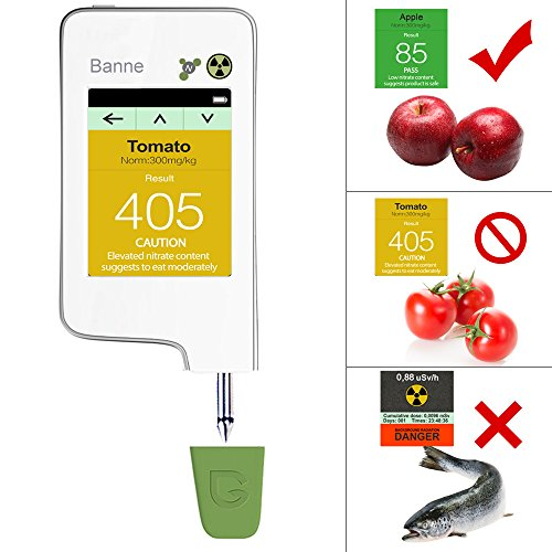 Healthy Eating, Banne Instant Read Digital Food Processor, Fresh Meat, Fruit, Vegetable Nitrate Tester & Geiger Counter Radiation Detection Combo for Food (White)  (V2)