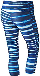 Nike Women's Dri Fit Legend 2.0 Tiger Stripe Capri Pants Blue XS