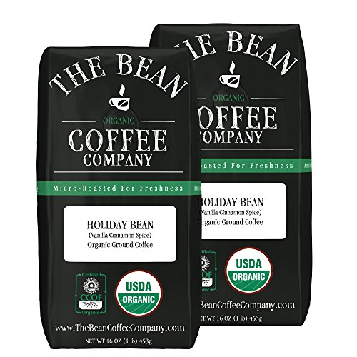 The Bean Coffee Company Holiday Bean (Vanilla Cinnamon Spice), Organic Ground, 16-Ounce Bags (Pack of 2)
