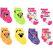 Mickey and Minnie Mouse Baby Boys Girls 8 pack Socks (0-6 Months, Minnie Pink)