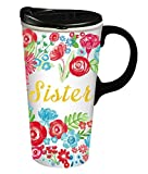 Cypress Home Sister Ceramic Travel Coffee Mug, 17 ounces