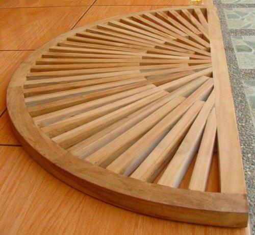 TeakStation Grade A Teak Wood 34x17 Sun Burst Door / Shower/ Spa / Bath Floor Mat