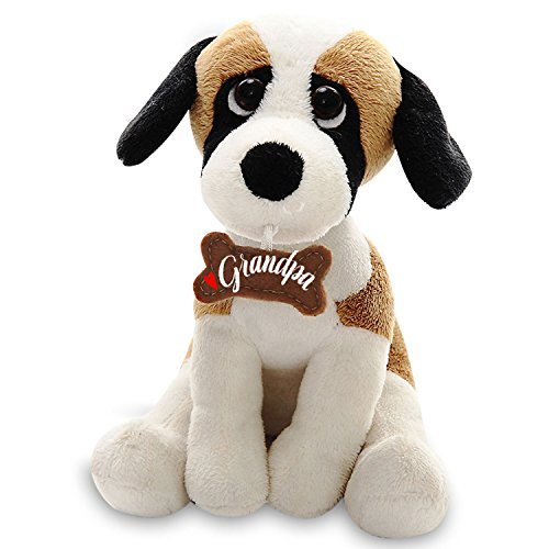 Plushland Adorably Stuffed Small Dog Holding a Bone, Message on It, Holiday Plush Animal Toys For kids and Superb Gift for Grandpa on Father's Day, Show your Love with 7 -