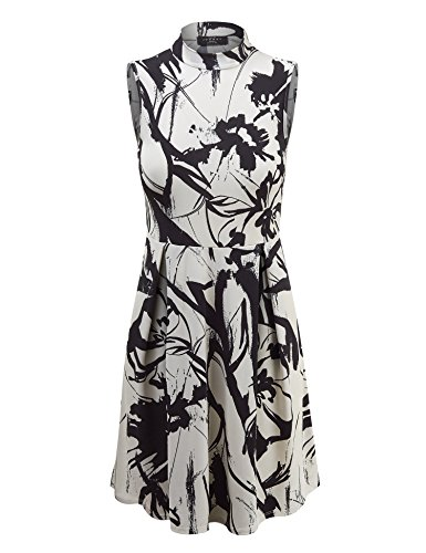 MBJ WDR1218 Womens Print Mock Neck Sleeveless Pullover Tunic Dress XXXL IVORY_BLACK