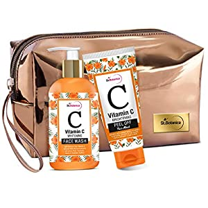 StBotanica Vitamin C Combo | Brightening Face Wash (200ml) + Brightening Peel Off Mask (100ml) With Pouch