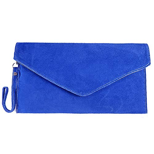 Womens Small Genuine Italian Suede Leather Elegant Envelope Clutch Evening Bag Blue