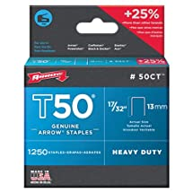 Arrow Fastener 50CT Genuine T50 17/32-Inch Ceiling Staples, 1,250-Pack