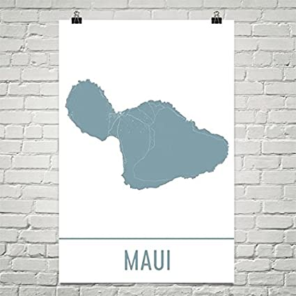 image relating to Printable Map of Hawaiian Islands identify : Maui Poster, Maui Artwork Print, Maui Wall Artwork, Maui