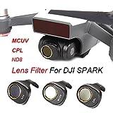 Inverlee DJI SPARK Drone MCUV/CPL/ND8 Gimbal Camera HD Lens Filter 3PCS a Set (Black)