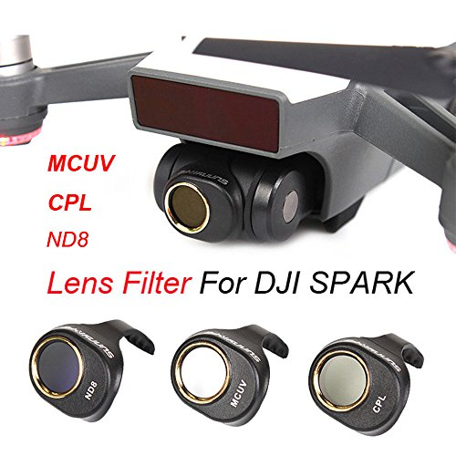 Inverlee DJI SPARK Drone MCUV/CPL/ND8 Gimbal Camera HD Lens Filter 3PCS a Set (Black) by Inverlee
