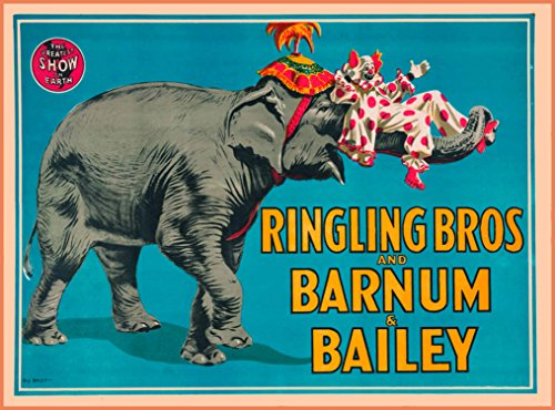 (A SLICE IN TIME Ringling Bros and Barnum & Bailey Elephant Clown The Greatest Show on Earth United States Vintage Circus Travel Wall Decor Advertisement Art Poster Print. Measures 10 x 13.5 inches)