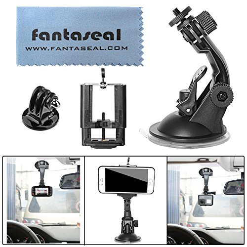 Fantaseal Camera Suction Car Mount Kit for GoPro Car Hud Suction Holder Support GPS Navigation Bracket w/ Super Wide Samrtphone Clamp 50-100mm for GoPro Apple iPhone Nikon Canon Sony DSLR Camcorder