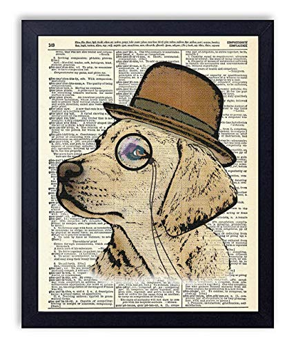 Golden Retriever Dog With Monocle Vintage Wall Art Upcycled Dictionary Art Print Poster 8x10 inches, ()