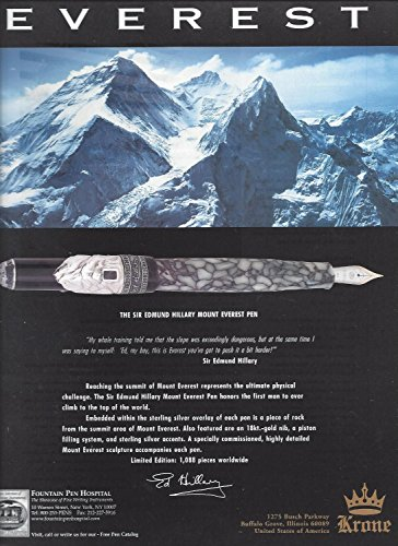 MAGAZINE AD For Krone Sir Edmund Hillary Mount Everest Fountain Pen - Pen Fountain Krone