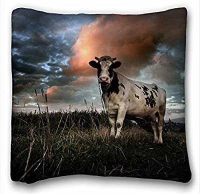 "Decorative Square Throw Pillow Case Animals cow clouds field 18""*18"" Two Side"
