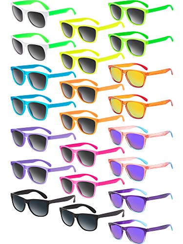 (22 Pieces Retro Neon Sunglasses 80s Party Favor Sunglasses Pool Party Sunglasses for Children and Adults Party Gifts)