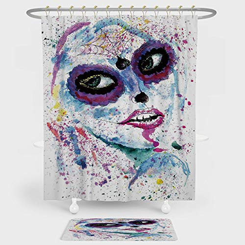 iPrint Girls Shower Curtain And Floor Mat Combination Set Grunge Halloween Lady with Sugar Skull Make Up Creepy Dead Face Gothic Woman Artsy For decoration and daily use Blue Purple for $<!--$45.99-->