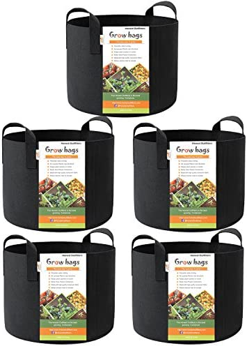 HONEST OUTFITTERS 5-Pack 10 Gallon Smart Grow Bags for Potato Plant Container Aeration Fabric Pots with Handles Black