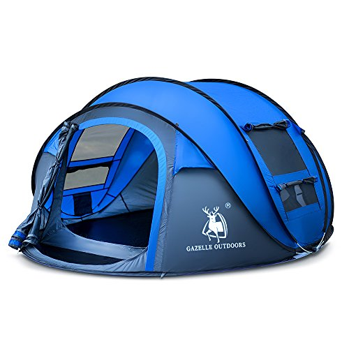 Rxlife Instant Pop Up Camping Tent for 3 Person Automatic Hiking Dome Tent with Vent Mesh Doors and Windows Shelter for Outdoor Family Camping Hiking Backpacking Travel Beach Blue -