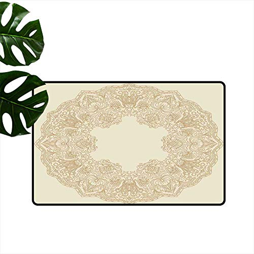 Anzhutwelve Beige,Doormats Old Fashion Embriodery Style Floral Circle Victorian Feminine Sophisticated Chic Boho Artprint Entrance Mat Waterproof W 31