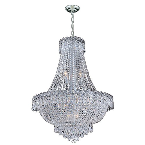 Worldwide Lighting Empire Collection 12 Light Chrome Finish Crystal Chandelier 24