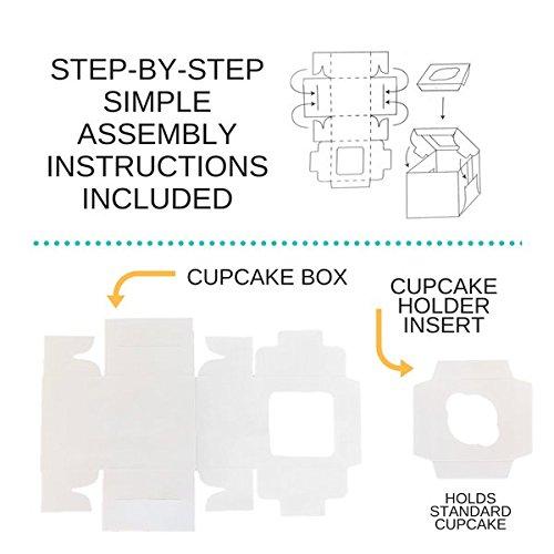 24 Count individual solo cajas para cupcakes con insertos, blanco individual Cupcake caja con ventana y gran como venta de pasteles embalaje o fiesta y boda ...