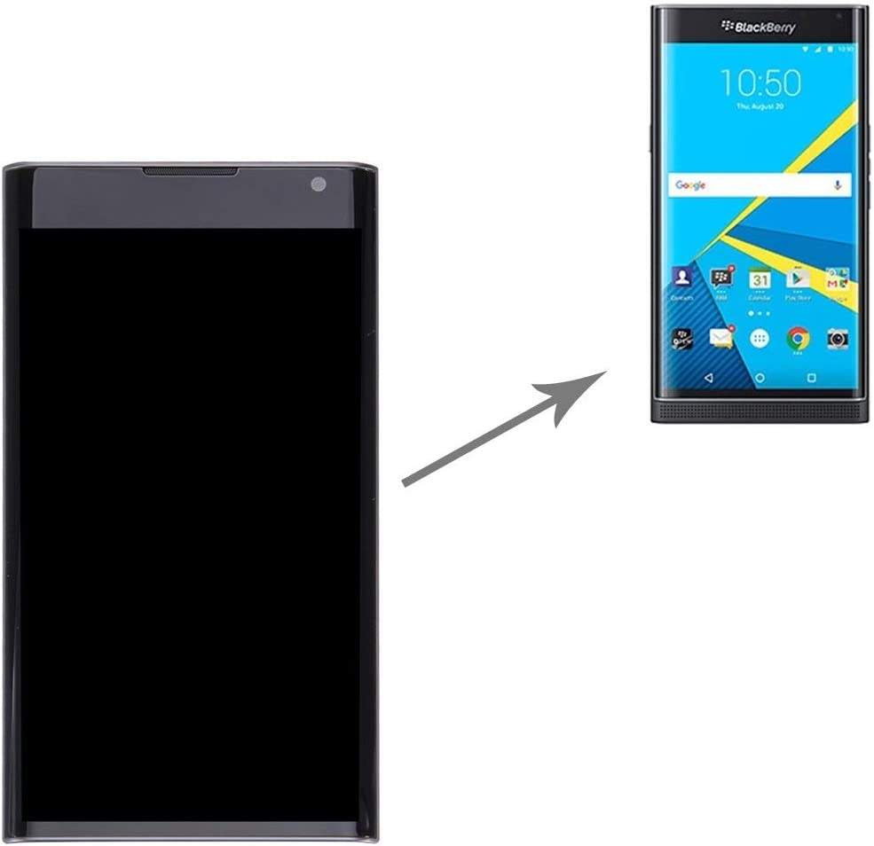 MTE AYSMG LCD Screen and Digitizer Full Assembly with Frame for BlackBerry Priv Black Color : Black