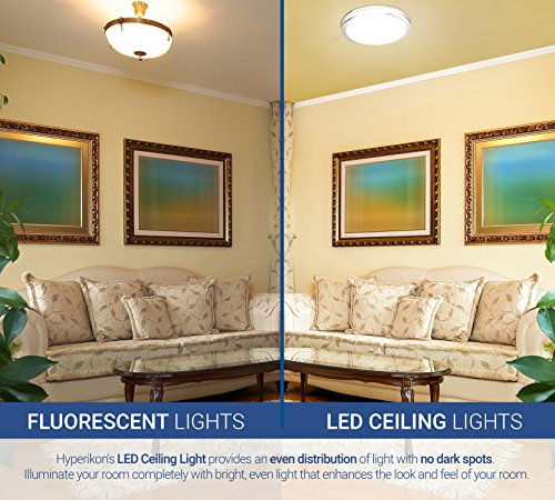 hyperikon led flush mount ceiling light 12 75w equivalent 1840lm 4000k daylight glow 120v 12 inch dimmable amazoncom - Led Ceiling Lights For Living Room