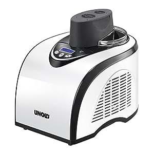 Unold 48840 Polar - Heladera con compresor (1 litro de crema de helado, refrigerador, refrigerador entre 18 y 35 grados, temporizador, superficie antiadherente, jarra graduada y cuchara para servir)