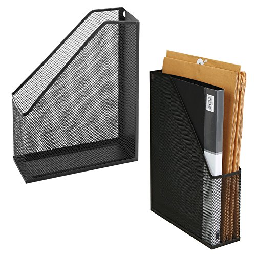 (Wire Mesh Wall Mounted or Freestanding Document Rack, Magazine and File Holder, Set of 2, Black )