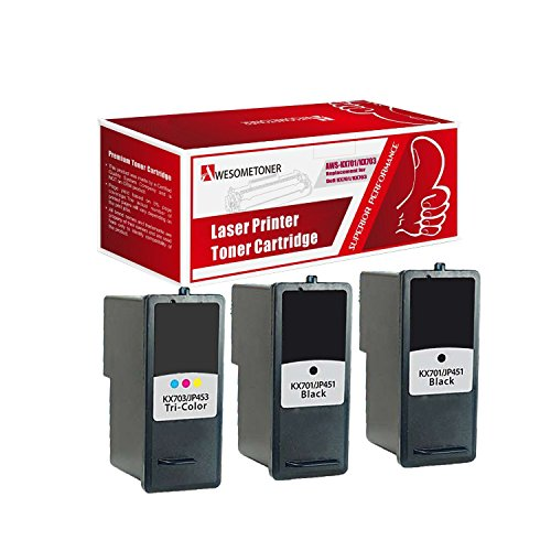 Price comparison product image AwesomeToner 3 PK KX701 x2 + KX703 Compatible ink cartridge for Dell 948Dell V505Dell V505w High Yield 250 Black 200 Color Pages