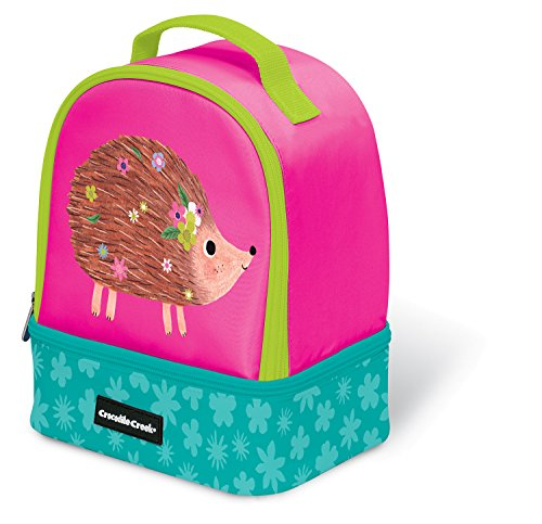 Crocodile Creek Eco Pink Hedgehog Two Compartment Kids' Lunchbox Insulated Lunch Box with Handle, 9.5&Quot -