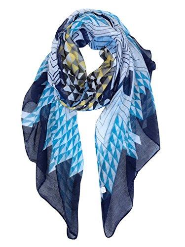 GERINLY Soft Stylish Shawl Wrap: Wave Stripe Print Lightweight Scarf (Navy Blue)