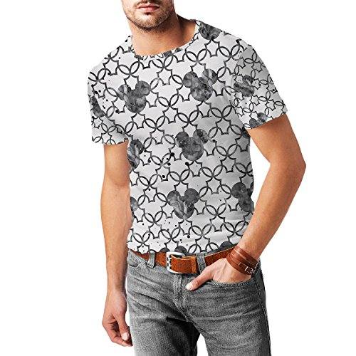 Mickey Mouse Watercolor Black Mens Sport Mesh T-Shirt Herren XS - 3XL