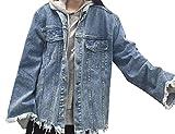 Cruiize Womens Boyfriend Loose Cut Off Distressed Hip Hop Denim Jackets Blue One Size