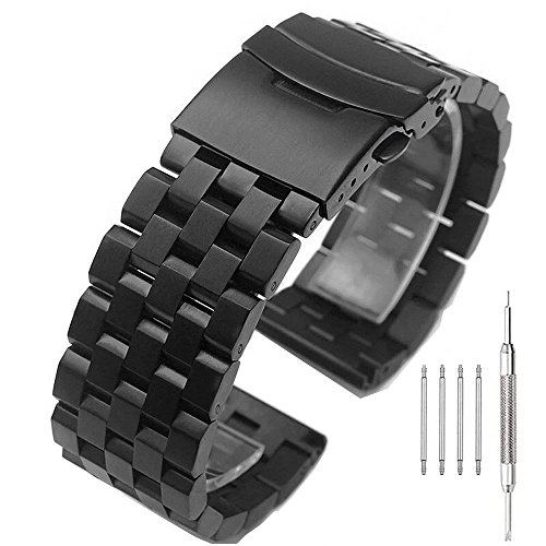 22mm Solid Stainless Steel Watch Band with Double Buckles Push Button Deployment Clasp 5 Rows Metal Watch Strap for Men Women (Stainless Steel Watch Band Buckle)