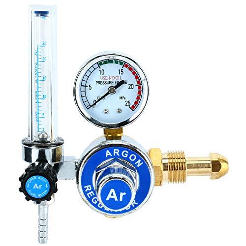 or With Flowmeter TIG Welder MIG Welding CO2 Regulator 0 to 25 L/MIN - 0 to 25 MPA Pressure Gauge CGA580 Inlet Connection Gas Welder Welding Regulator with Built-In Flow Meter ()
